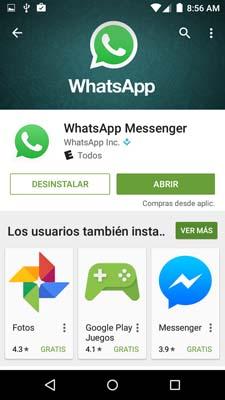 Ingresar a Play store y descargar Whatsapp